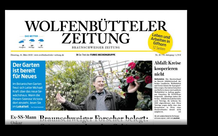 Die gedruckte Wolfenbütteler Zeitung.